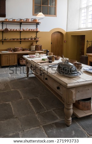 CARDIFF/UK - APRIL 19 : Castle Kitchen at St Fagans National History Museum in Cardiff on April 19, 2015 - stock photo