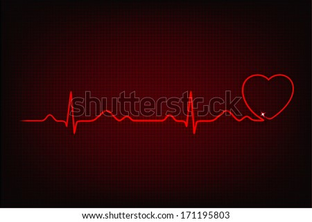 Cardiogram of love and health. Cardiogram line forming heart shape - stock photo