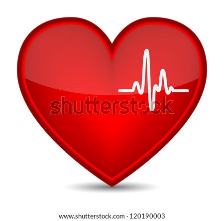 Cardiogram on red heart shape. (Raster version) - stock photo