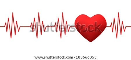 cardiogram pulse trace and heart, 3d render - stock photo