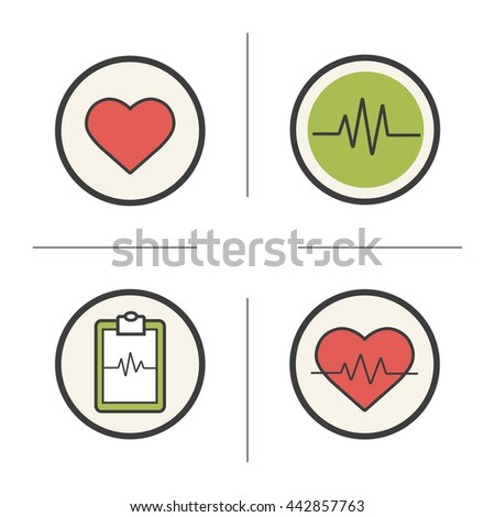 Cardiology color icons set. Heart shape, cardio monitor, ecg curve and heartbeat symbols. Health care and medical symbols. Logo concepts. Heart care infographic elements. Raster isolated illustrations - stock photo
