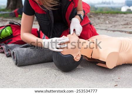 Cardiopulmonary resuscitation (CPR) training detail - stock photo