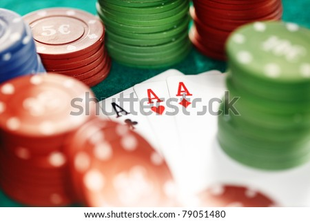 Cards and casino chips. Shallow depth of field for natural view - stock photo