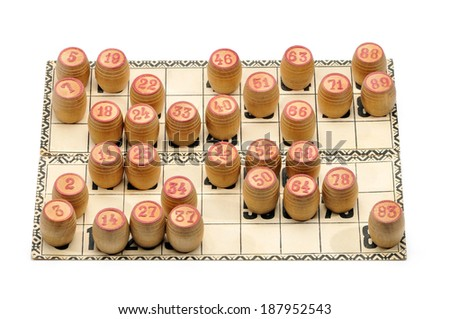 Cards and kegs for Russian lotto (bingo game) isolated on a white background. - stock photo