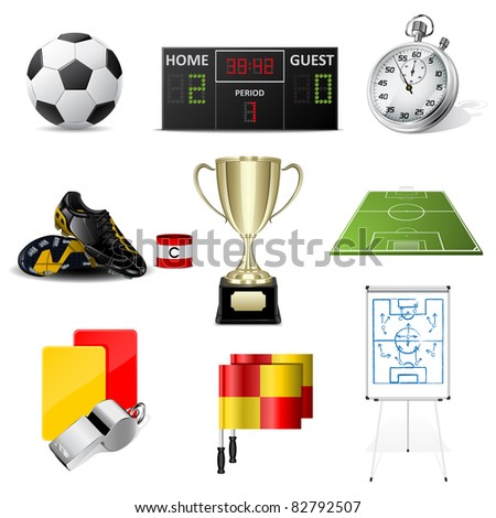 Cards and whistle, referee attributes - stock photo