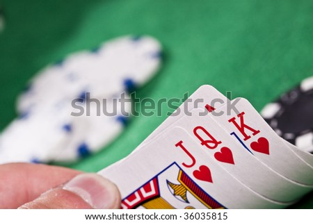 Cards, cash and Gambling - stock photo