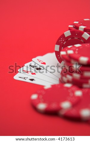 Cards & casino chips - shallow dof - stock photo