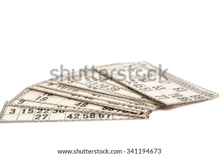 Cards for Russian lotto (bingo game) isolated on white background - stock photo