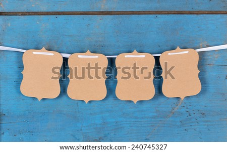 Cards Hanging on Cord - stock photo