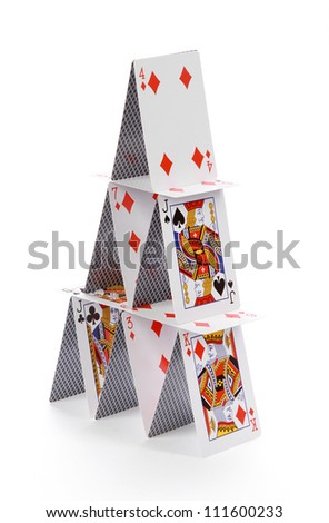 cards house on white background - stock photo