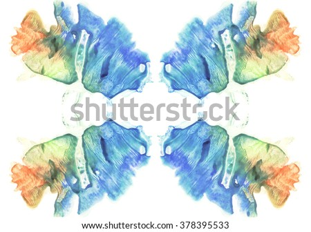 Cards of rorschach inkblot test. Watercolor picture. Abstract background. Colorful image. Blue, orange, yellow and green paint. - stock photo