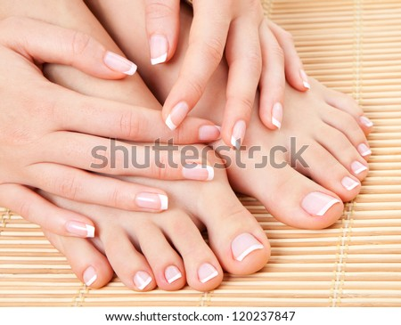 care for beautiful woman legs - stock photo
