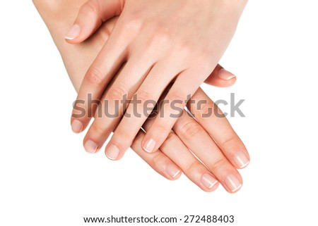 Care for sensuality woman hands - stock photo