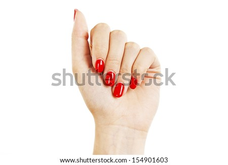 Care for sensuality woman nails. Isolated on white background   - stock photo