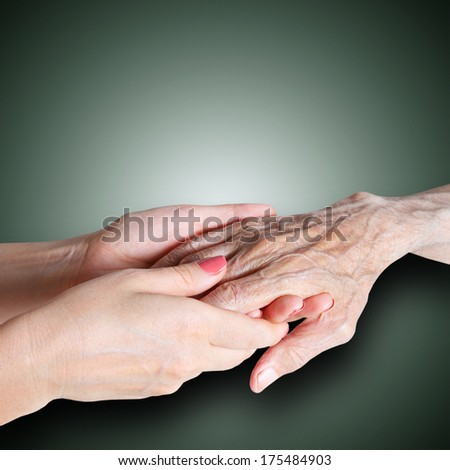 care is at home of elderly - stock photo