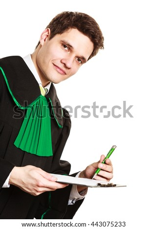 Career and legal advice. Young male lawyer hold clipboard files. rite point with pen show advice and help. - stock photo