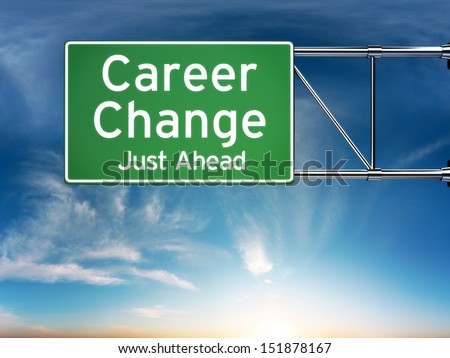 Career change just ahead concept depicting a new choice in job Career - stock photo