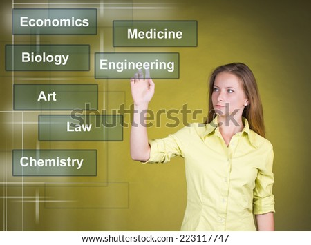 Career choice options - student girl thinking of future education. Young girl chooses her future career on virtual screen. - stock photo