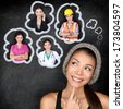 Career choice options - student thinking of future education. Young Asian woman contemplating career options smiling looking up at thought bubbles on a blackboard with images of different professions - stock photo