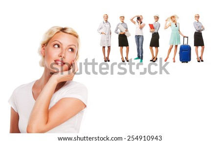 Career choice options - student thinking of future education. Young woman contemplating career options smiling looking up at images of different professions - stock photo