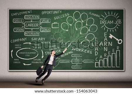 Career concept: Beautiful businesswoman flying on written chalkboard background - stock photo