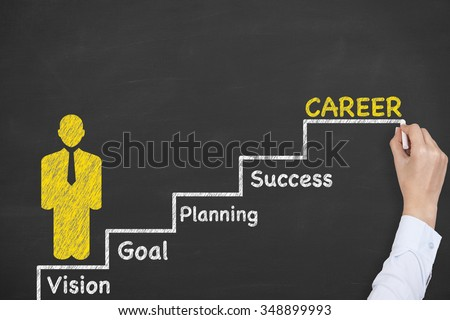 Career Concept Stairs on Chalkboard - stock photo