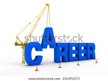 career development and cranes and trucks to build a rich visual images added. Blue font was used on a white background - stock photo