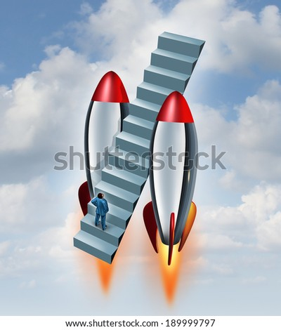 Career fast track and climbing the corporate ladder icon as a businessman on a stairway flying up to the sky with rocket boosters as a metaphor accelerated growth by speeding up a business strategy. - stock photo