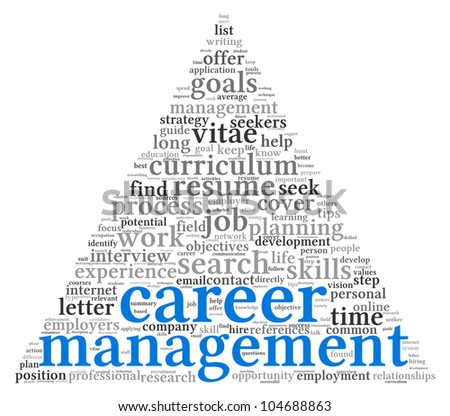 Career management in word tag cloud on white - stock photo
