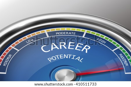 career potential conceptual 3d illustration meter indicator isolated on grey background - stock photo