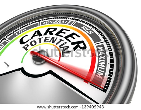 career potential conceptual meter indicate maximum, isolated on white background - stock photo