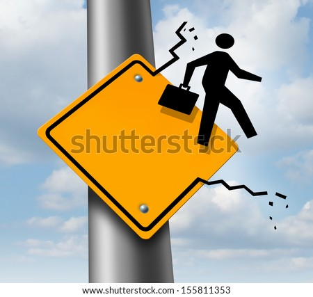 Career promotion business concept as a metaphor for employment aspirations as an icon of a businessman breaking out of a yellow traffic road sign as an achievement symbol of job success or leadership. - stock photo