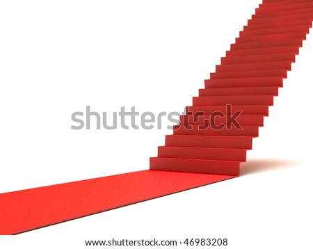 Career stairs. Red carpet - stock photo