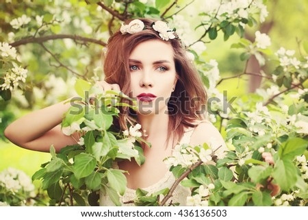 Carefree Woman Outdoors. Health andCarefree Woman Outdoors. Health and Freedom Freedom - stock photo