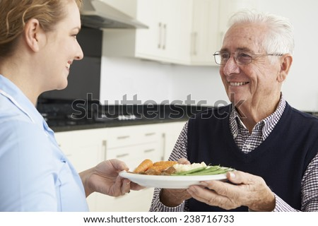 Carer Serving Lunch To Senior Man - stock photo