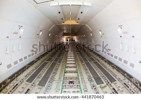Cargo airplane. Transport Boeing 747. Boeing 747 freighter. Transport airplane. Airfreight carrier. Transport aviation. LD3, LD6, LD1, LD11 containers space. Pallet loading space. - stock photo