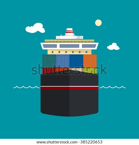Cargo Container Ship, Front View of a Cargo Sea Vessel, Container Truck Transports Containers - stock photo