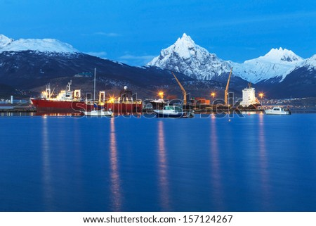 Cargo container ships in the port of Ushuaia, Argentina - stock photo