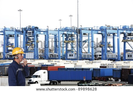cargo container worker - stock photo