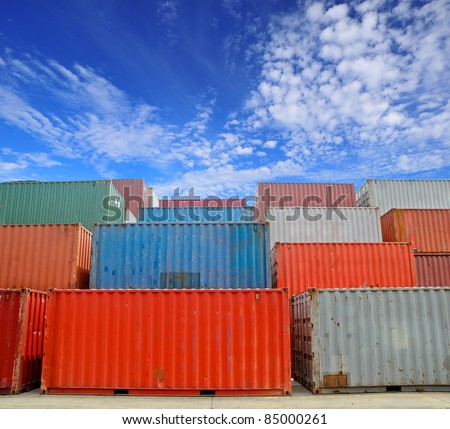 Cargo Containers at a dock with blue sky - stock photo