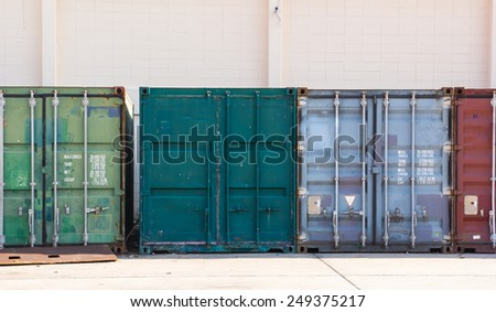 cargo containers in storage area  - stock photo
