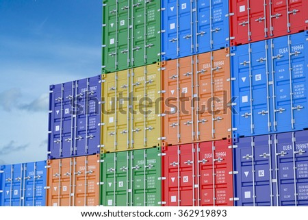 cargo containers isolated on the blue sky - stock photo