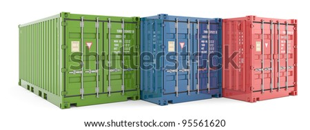 Cargo containers isolated on white - stock photo