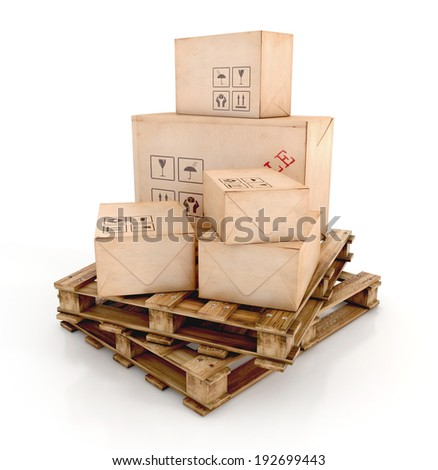 Cargo, delivery and transportation industry concept. Cardboard boxes on wooden pallets isolated on white background. 3d illustration - stock photo