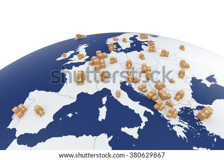 Cargo delivery transportation cardboard boxes on the Europe map - global shipment 3d concept isolatesd on white background - stock photo