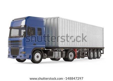 Cargo delivery vehicle truck with aluminum trailer - stock photo