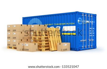 Cargo, freight transportation, shipping, logistics, delivery and distribution concept: blue metal cargo container and stacks of cardboard boxes on wooden shipping pallets isolated on white background - stock photo