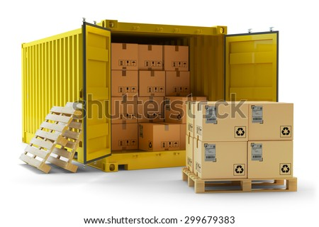 Cargo handling operation, freight transportation concept, open container full of cardboard boxes and stack of packages on pallet isolated on white background - stock photo