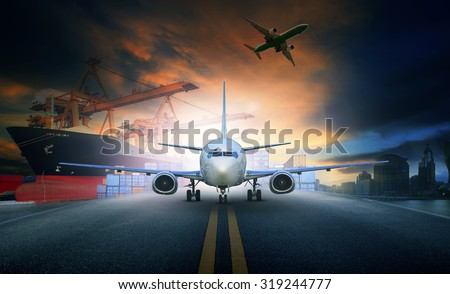 cargo plane and container ship for logistic and transport business - stock photo