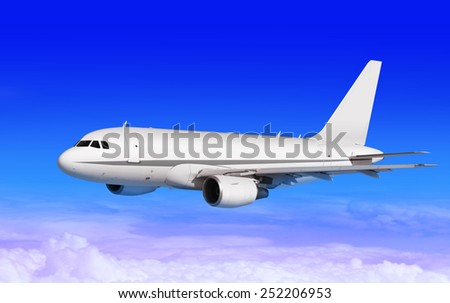 cargo plane on blue sky with white clouds - stock photo